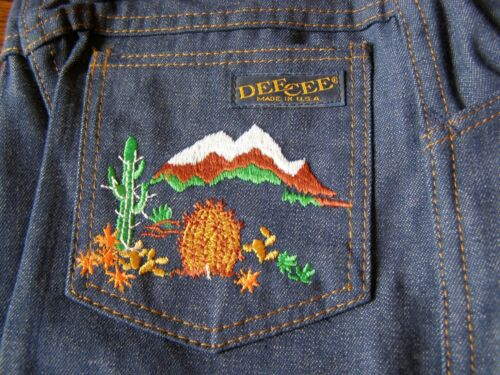 Vintage 70s Kids DEE CEE Bell Bottom Jeans Embroidered Cactus New with tags