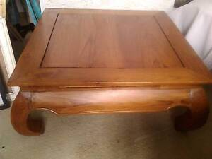 LARGE SQUARE BALI-STYLE SOLID WOOD COFFEE TABLE SOLID AND STURDY Wamberal Gosford Area Preview