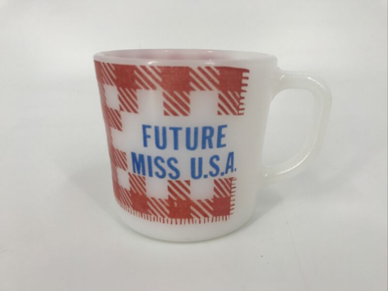 Westfield Future Miss USA Milk Mug Coffee Cup Milk Glass Red White Blue Check