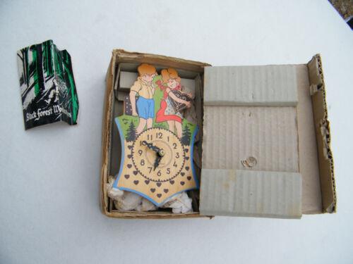 Vintage Douane-Zoll Mini Wood Jockele Black Forest Clock Germany Boy & Girl NIOB