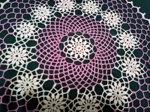 """STUNNING HAND CROCHETED DOILY NEW 17 """" WHITE, AND WOOD VIOLET"""