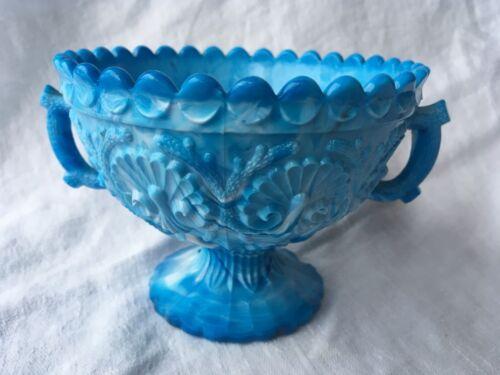 Davidson Coral & Shells Handled Sugar Bowl Blue Slag Glass