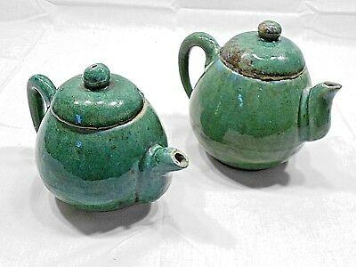 VINTAGE STONEWARE TEAPOTS, UNKNOWN MAKER