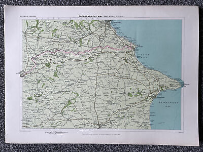 """Vintage """"Topographical Map- East Riding Section 1"""" Map (43 X 31cm)"""