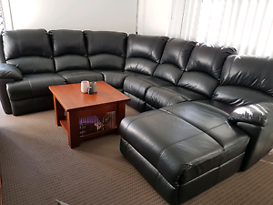 Black Leather 6-seater Modular Lounge with Recliner & Chaise Bahrs Scrub Logan Area Preview