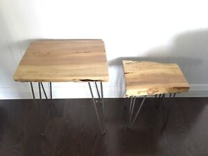 Live Edge Hair Pin Side Nesting Tables Spalted Maple