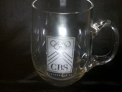 1992 OLYMPIC CBS  ALBERTVILLE WINTER OLYMPIC GAMES Collectors Glass Mug