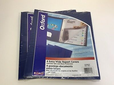 2x Oxford Extra-wide Twin Pocket Folder W 3-prong Fasteners Dark Blue 4 Pack
