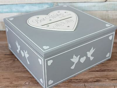 Best wishes to new Mr & Mrs grey wedding box slot cards messages