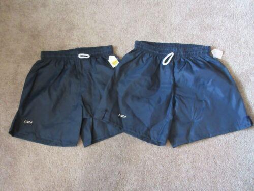 Lot (2) VINTAGE New 80s LIGA SOCCER Youth Large YL Blue Shorts 100% Nylon
