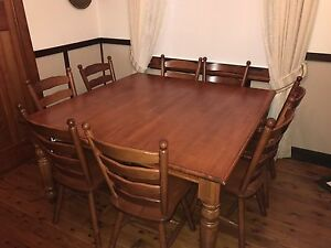 Solid Timber Dining Table & 8 Chairs Mayfield East Newcastle Area Preview
