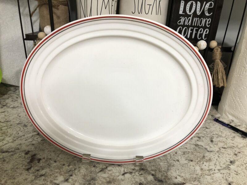 "Hazel Atlas Moderntone Platonite Red AND Black Stripe 12"" Oval Serving Platter"