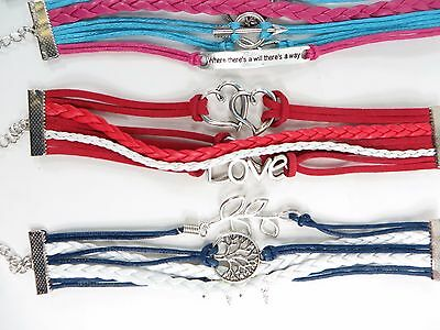 US SELLER10pc wholesale lot friendship infinity bracelet silver charms