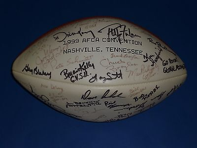 FAMOUS COLLEGE COACHES SIGNED FOOTBALL - LAVELL EDWARDS, BILL SNYDER, 35+ NAMES!