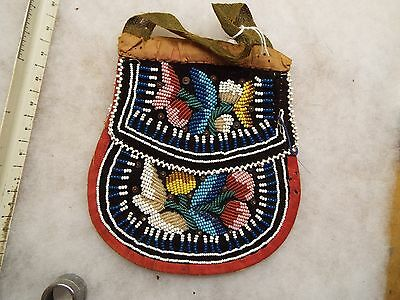 LARGE 1860s 1880s NATIVE AMERICAN INDIAN BEADED  POUCH ,  ,IROQUOIS