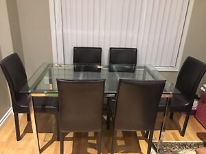 7 pieces Modern Glass Table Dinning Set