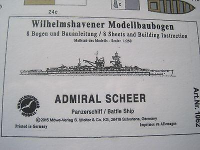 Admiral Scheer Panzerschiff Schiff Wilhelmshavener Modellbaubogen Bastelbogen