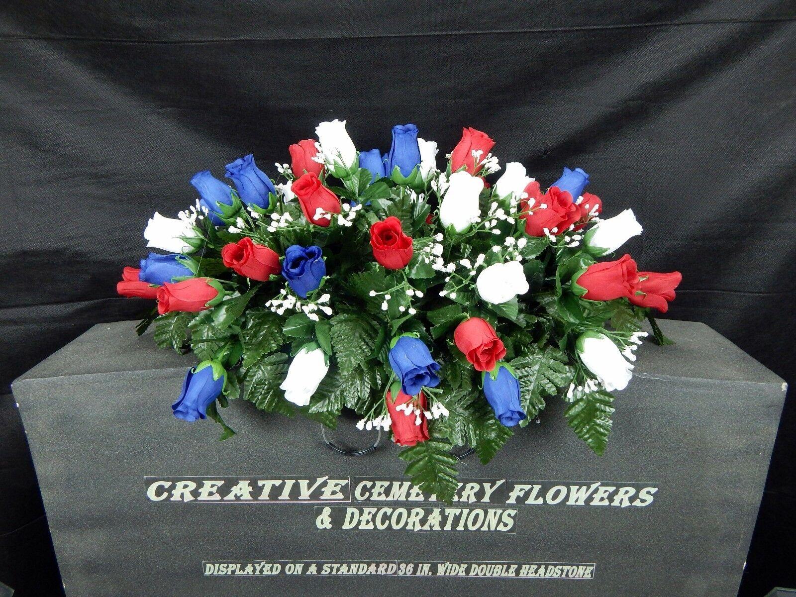 Memorial Cemetery Silk Flower Headstonetombstone Saddle Matching