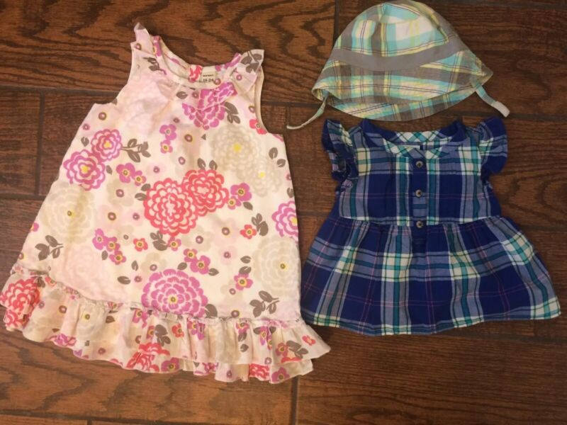 Baby girl summer clothes 18 24 months lot Dress Top Hat Floral 100% Cotton