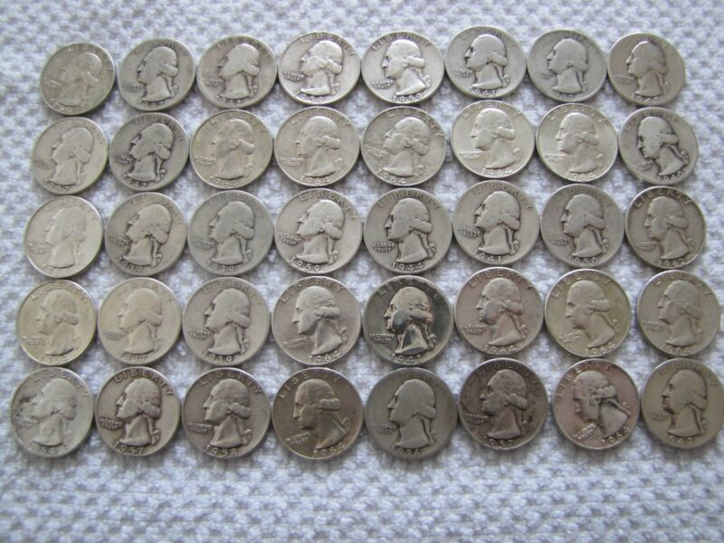 WASHINGTON SILVER 40 QUARTER ROLL- VARIUS DATES