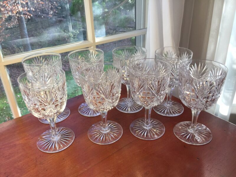 Dorflinger set 8 Royal Pattern large Goblets American Brilliant Cut Glass  RARE