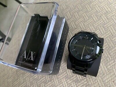 Armani Exchange Men's Black Ion Plated Classic Stainless Steel Watch 46mm AX2104