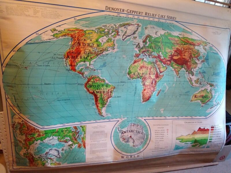 Vintage 1957 World Pull Down School Map Relief Like