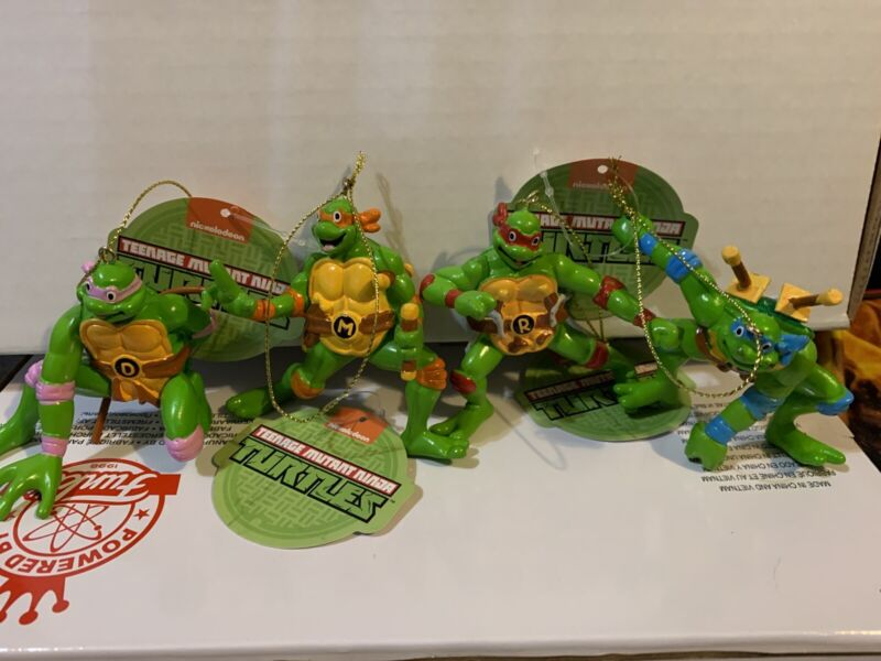 Teenage Mutant Ninja Turtles Set Of 4 Christmas Ornaments by Kurt Adler *NEW*