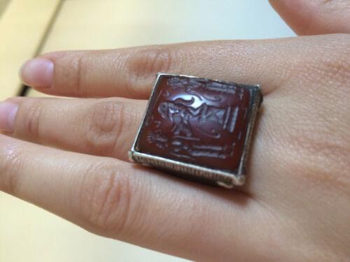 Rare Vintage Intaglio Red Agate Roman Silver Ring