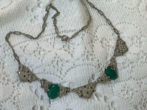 vintage deco sterling silver marcasite necklace