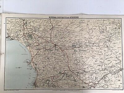 Mineral Districts of Ayrshire 1884 Antique Map Bartholomew Atlas Scotland Colour