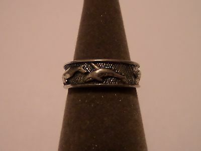 VINTAGE SIGNED WHALES STERLING SILVER SIZE 7 SILVER CLOUD RING