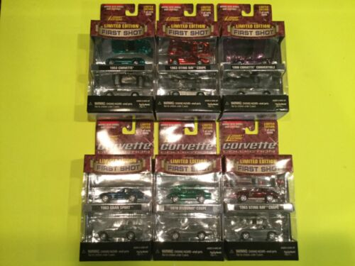 Johnny Lightning 6 Car Set Corvette Collection Limited Edition with First Shot