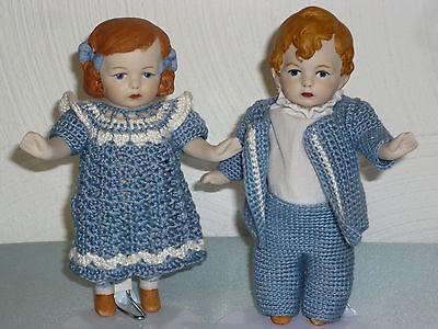Puppen Pärchen Gebrüder Heubach 15,5 cm groß Mädchen + Junge kompl. Porzellan