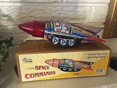 Colorful Sparking Space Commander Friction Motor Rocket Space Ship Tin Litho Toy
