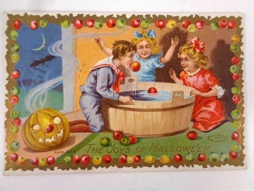 Vtg Taggart Halloween Postcard Series 803 Kids Bobbing Apples JOL Bat