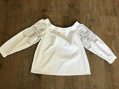 IRIS & INK designer white off shoulder flower crochet embroidered top S uk 6 8