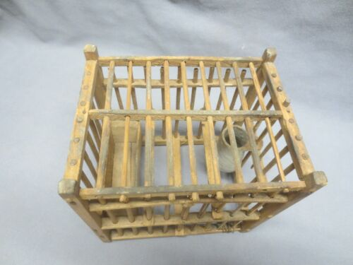 Antique Vintage Coal Miners Wood Canary Bird Cage Pottery Water Cup Wood Feeder