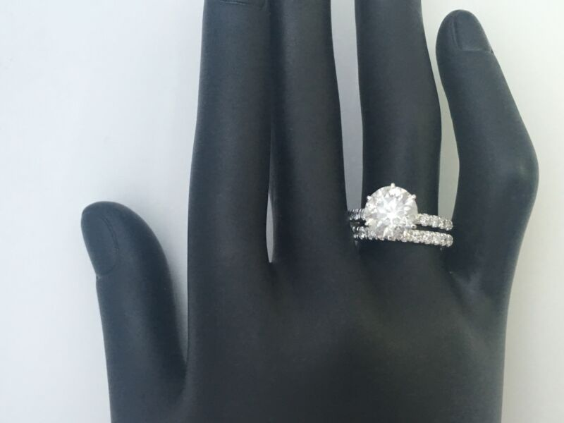 Diamond Ring Band Set Vs1 D Natural 18k White Gold 6 Prong Estate 2 Ct Colorless