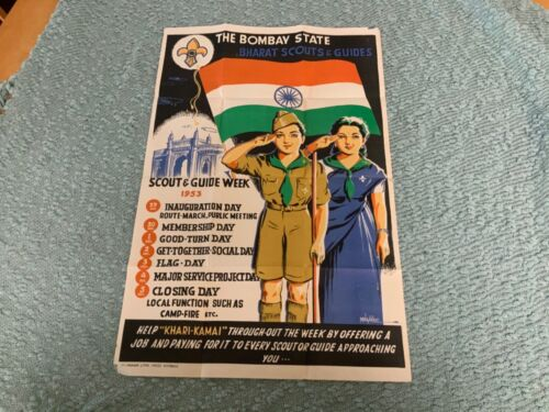 Rare Original Bharat Scouts and Guides (India) 1953 Scout Week Poster Boy Scouts