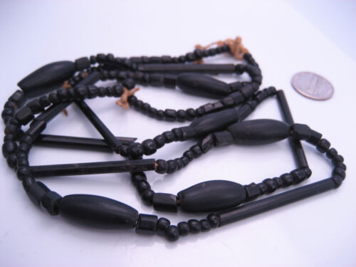 """Antique Old Victorian era Carved Whitby Jet Single Strand Beaded Necklace 35"""""""