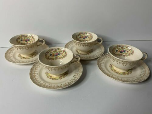 Vintage American Limoges Delight 22k Gold Trimmed Tea Cup & Saucer, Set of 4