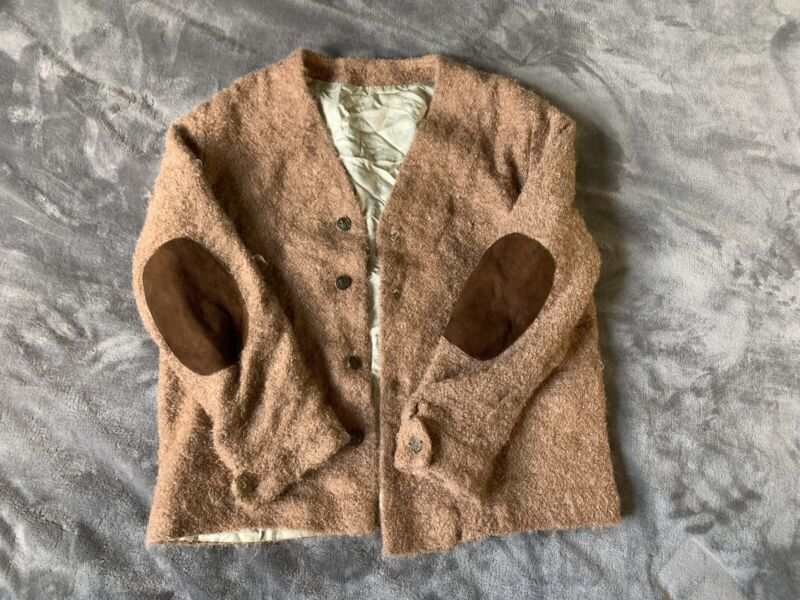 VINTAGE BROWN MOHAIR FUZZY CARDIGAN SWEATER UNTAGGED SIZE MEDIUM