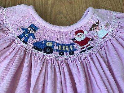 Stellybelly Smocked Dress Sz 6 Light Pink Corduroy Santa Gifts Long Sleeve - Pink Santa Dress
