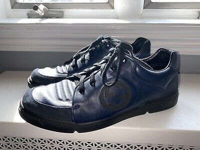 Mens Gucci 391046 Size G8 (US 8.5) Inter Locking GG Leather Sneaker Navy Blue