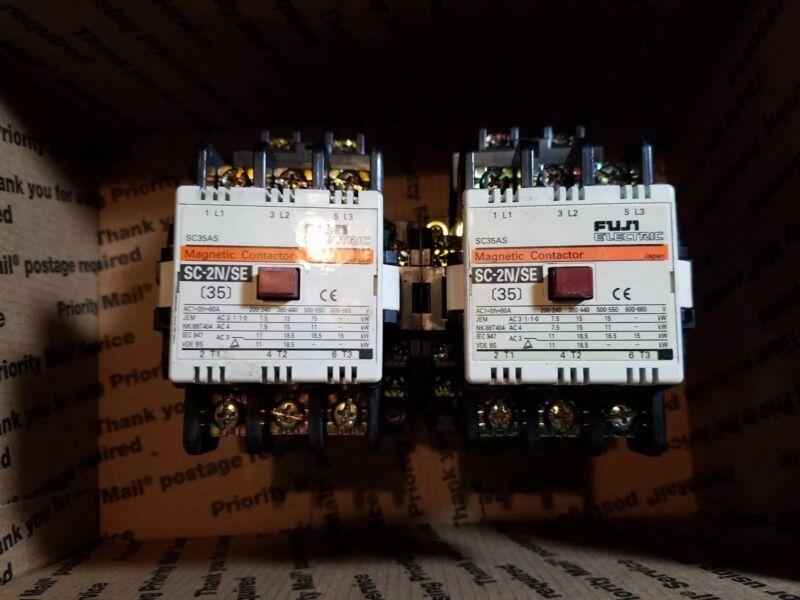 Lot of (2) FUJI ELECTRIC MAGNETIC CONTACTOR SC-2N/SE