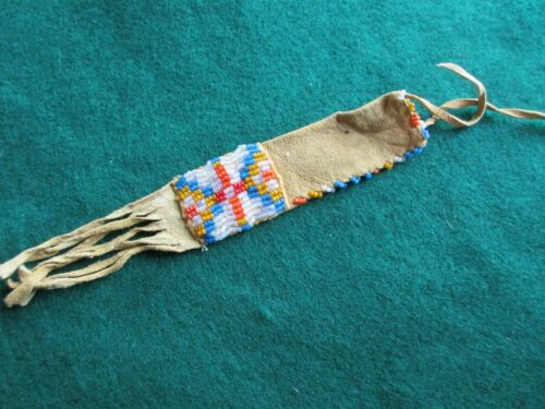 NATIVE AMERICAN BEADED LEATHER MINI PIPE BAG, JUST LIKE THE BIG ONES,  BUF-04064