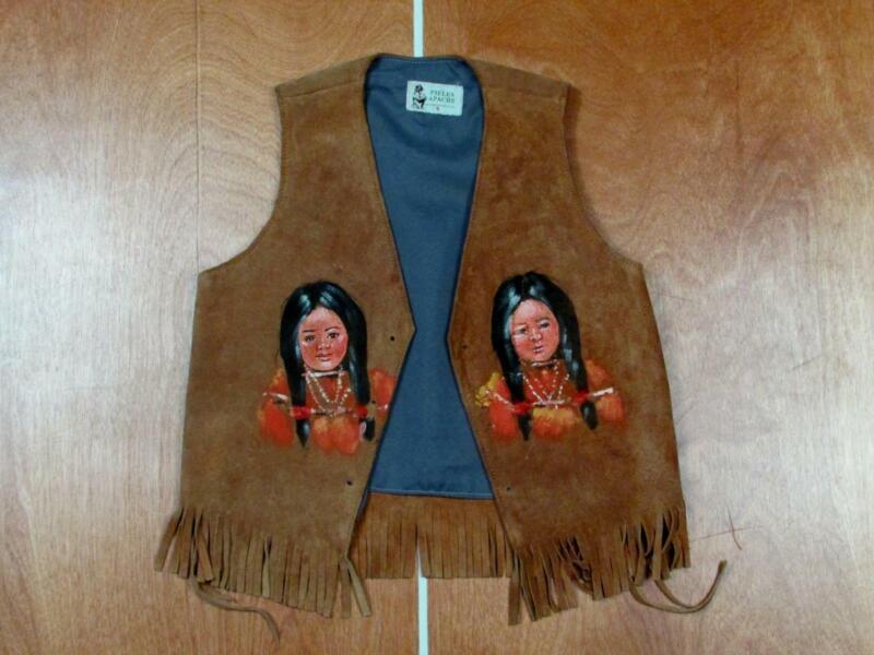 Vintage 1960s Leather Handpainted Childrens Vest Mexico Pieles Apache Western S