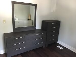 Bedroom set ( queen bed frame, dresser, chest, night stands)