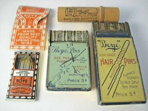 Vintage Boye Needle & Hair Pin Tin Boxes Plus Sewing Machine Needle Tube & Books